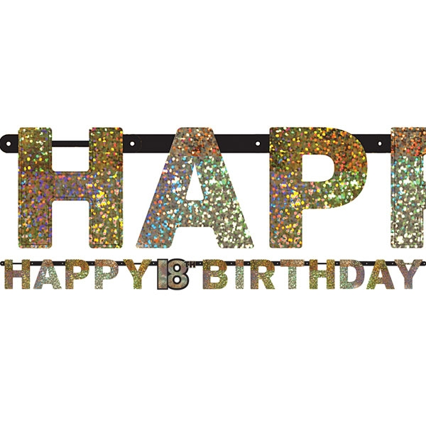 happy 18th birthday letter banner party decoration 7ft click here for larger image