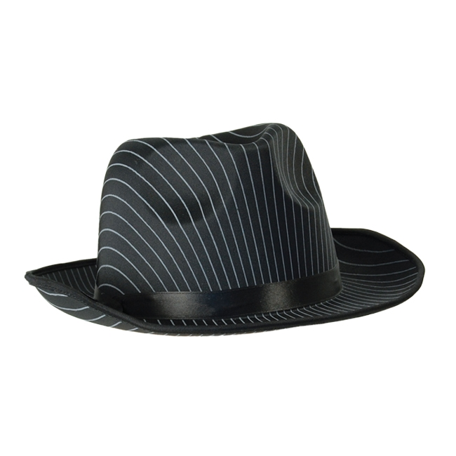 652d2e29e Deluxe Black Gangster Pin Striped Trilby Hat Fancy Dress Accessory