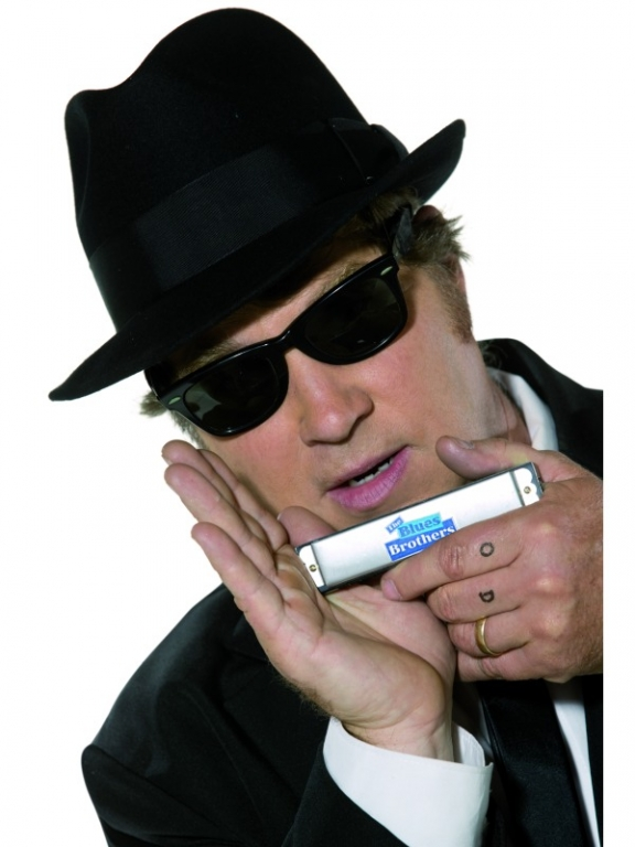 Blues Brother Hat and Glasses Set Fancy Dress Costume Gangster Hat