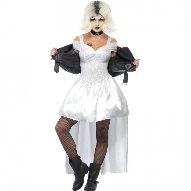 ladies halloween bride of chucky tiffany fancy dress costume