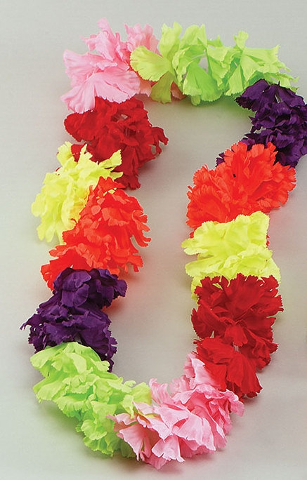 beach necklace flower leis fancy lei hawaiian product decoration dress multicolor garland theme pcs luau tropical costume party