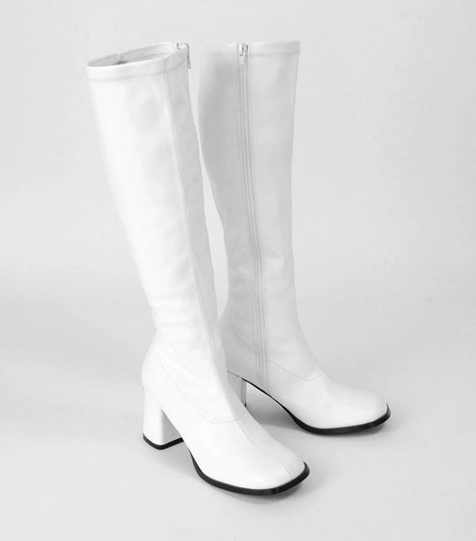 Gogo 60 s 70 s style white boots