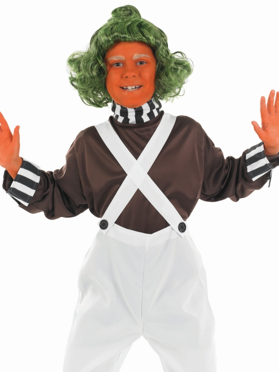 Click Here for Larger Image. Oompa Loompa Kids Factory Worker Costume  sc 1 st  Altered Image Fancy Dress & Girls Oompa Loompa Factory Worker Costume