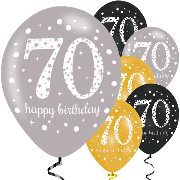 Happy 70th Birthday Party Gold Mix Sparkling Celebration Balloons
