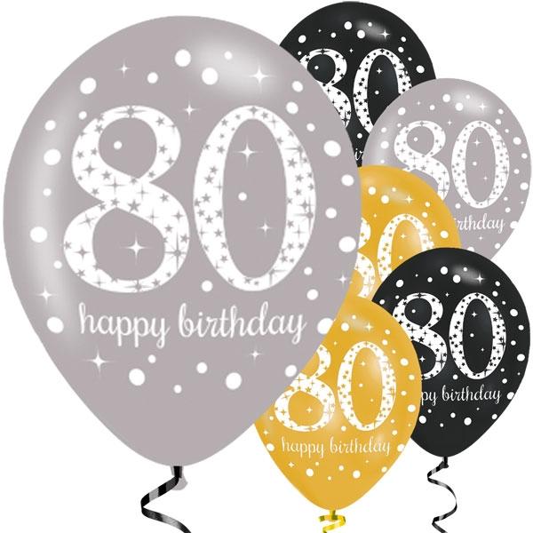Happy 80th Birthday Party Gold Mix Sparkling Celebration Balloons