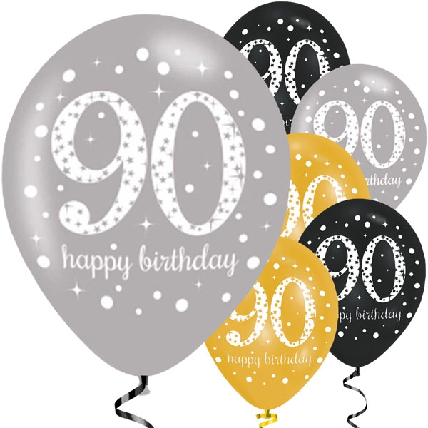 Happy 90th Birthday Party Gold Mix Sparkling Celebration Balloons